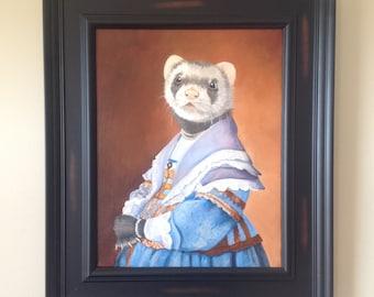 "Ferret In a Blue Dress, Original Oil Painting, 11x14"" Ferret Portrait"