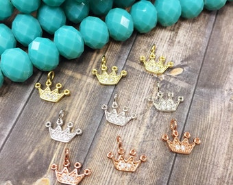 Crown Charm, CZ Crown Charm, Brass Crown Charm, Crown Pendant, Crown Bracelet, Crown Necklace, Princess Jewelry, Tiara Charm, Princess Charm