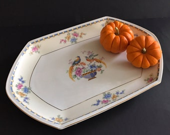 Vintage MZ Altrohlau Platter Cellini Pattern Oval Serving Platter Rectangular 15 Inches Czechoslovakia  Blue and Pink Roses Birds Gold Band