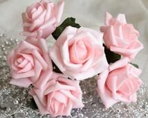 72 pcs Wedding Flowers Light Pink Artificial Flower Supplies Fake Foam Roses Floral Wedding Table Centerpiece Decor
