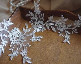ivory and silver Alencon Lace Applique, bridal headpiece applique, wedding applique