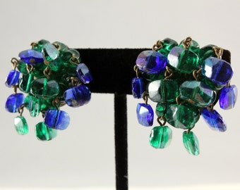 Vintage Green and Blue Chandelier Cluster Glass Bead Clip Earrings (retro 40s 50s 60s pin up dangling pinup old ab clear)