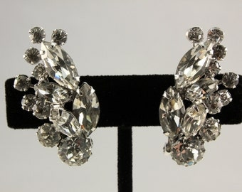 Weiss Clear Rhinestone Climber Clip Earrings (vintage retro 50s 60s bridal wedding silver tone signed glamour sparkly statement pin up pinup