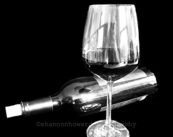 Wine Photography, Kitchen Art 8x10 or 11x14 print Winery, Restaurant, Wine Bar, Wine Cellar, Black & White Print, GBK 2013 Emmys Gift Lounge