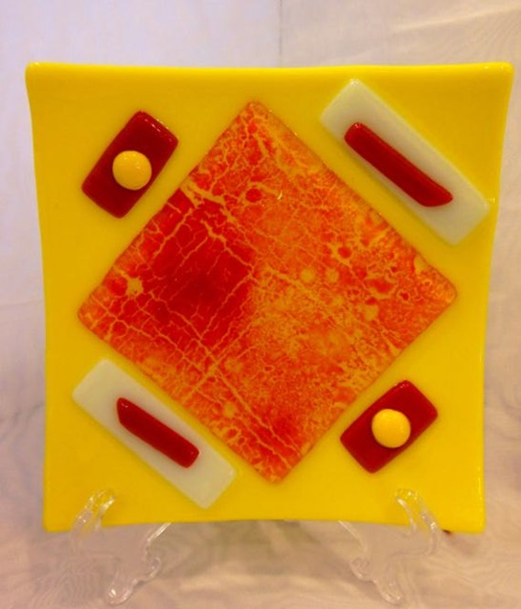 Handmade Fun and Funky Fused Glass Square Plate