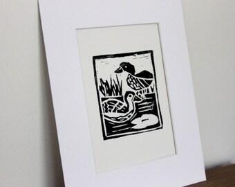 Ducks original linocut print