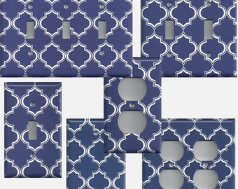 Navy Blue and White Quatefoil Lattice Light Switchplates and Wall Outlet Covers Home Decor Accents Light Switch Covers