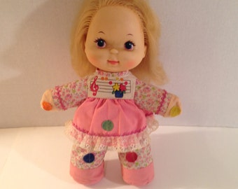 """1974 Mattel Love Notes Doll 12"""" Musical Squeeze Doll"""