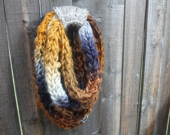 SALE Chunky Infinity Scarf, Blue and Brown Infinity Scarf, Knit, Chunky, Winter Accessories