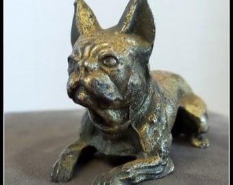Vintage Metal Boxer Dog Miniature