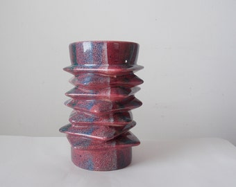 Vintage Abstract Studio Pottery Vase Stacked Square Geometric Handmade Ceramic Vessel