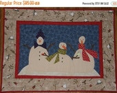 Christmas in July Sale Snowman Christmas Winter Quilted Wall Hanging, Holiday Art Quilt, Snowman Art Quilt, Winter Applique Quilted Wall Han