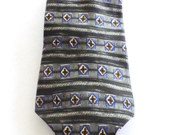 Geoffrey Beene Long Green Blue Brown Cream Stripe Geometric Print Silk Necktie Classic Business Wear Great Gift Idea