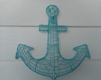 Nautical wire mesh anchor / beach decor / nautical decor