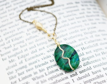 Chrysocolla Extra Smooth Tiny Link & Textured Teardrop Bead, Wirewrap Design, Moonchild Boho Gift for Her, Necklace