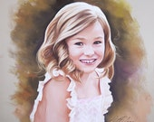 Sweet young girl Pastel portrait.