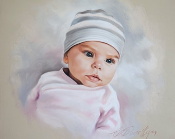 Pastel portrait commission of a little baby girl