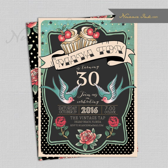 Pin Up Rockabilly Tattoo Birthday Party Invitations, wedding shower, roses, vintage, retro, girls night out, cupcake, cherries