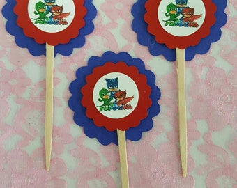 pj mask cup cake toppers
