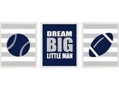 Sports Nursery Wall Art, Baby Boy Nursery, Navy Blue Gray Stripes, Baseball Football, Toddler Room, Big Boy Room, Dream Big Little Man