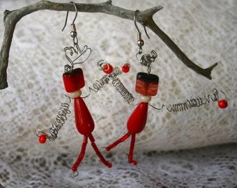 Long Dangle Bead Earrings, Red Glass Beads, Stick People, Unique Earrings,