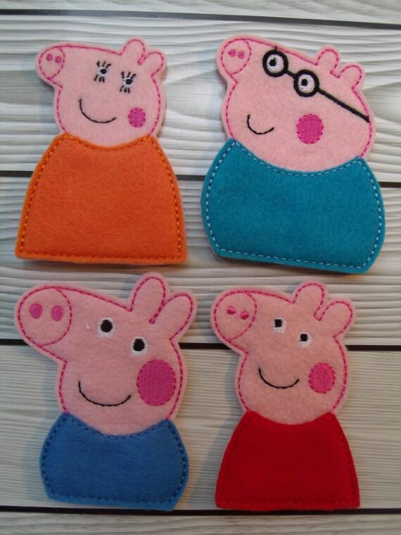 pig puppet template - peppa pig finger puppet set