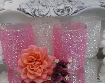 Pink Glitter votive holders candle holders wedding centerpieces