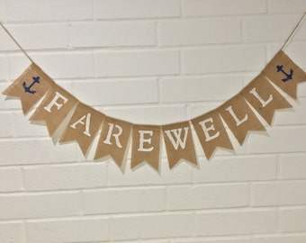 FAREWELL Banner, Military Deployment, Retirement Party Decoration, Going Away Party, Bunting Garland, Nautical Theme
