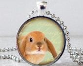 Lop Ear Rabbit Necklace, Lop Ear Bunny Pendant, Bunny Jewelry, Rabbit Jewelry, Brown Rabbit Necklace, Christmas Present, Stocking Stuffer