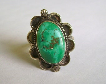 vintage sterling and turquoise ring, signed, size 10
