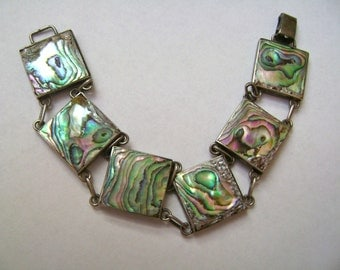 old abalone and sterling panel bracelet