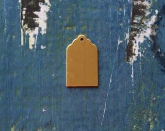 """13/16"""" Brass Luggage Tag Stamping Blank - Metal Stamping Blank - 13/16"""" - 24 Gauge - Pack of 10 - Jewelry Metal Stamping Blank- SGMET-450.18"""