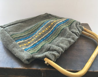 Woven woolen bag with wooden handles Gray Blue yellow ethnic bag Handmade Hippie Boho woven bag Woven tote bag