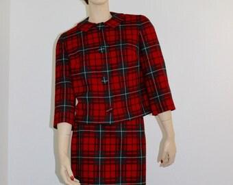 Vintage Pendleton Red Wool Plaid Suit Pure Pendleton Virgin Wool Suit