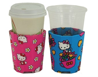 Beverage Insulator #HelloKitty Fabric PocketHuggie-Cold/Hot Drinks,Soda,Coffee,Red Solo Cup,Beer-Handmade,Reusable,Folds,SIZES:Cup & Can