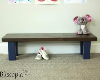 Children's Bench w/Reclaimed Wood Top and Straight Legs
