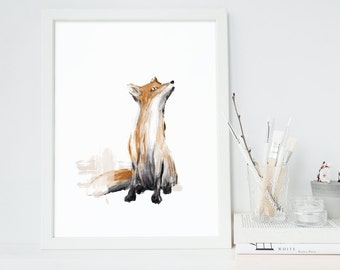 Fox Printable, Instant Download, Original Fox Illustration, Woodland Nursery Decor, Animal Print, Fox Print, Digital Art, Fox Art