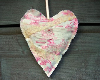 Home Decoration Heart French Antique Fabric Toile de Jouy Lace Organic French  Lavender and Polyfiber Amitie Bonheur