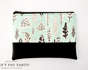 Cosmetic Bag, Clutch, Make-up Bag, Pouch, Leaves, Mint, Cotton and Faux Leather by Aren't You Fancy