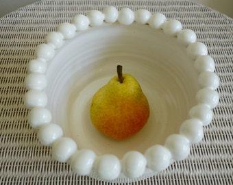 White Bubble Pottery Serving Bowl or Decorative Plant Pot