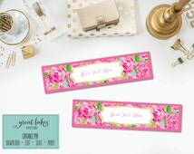 Water Bottle Labels Inspired by Lilly Pulitzer, Pink & Green Floral Drink Wraps, Party Decoration Printable {Editable PDF+Instant Download}
