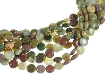 "Ocean Jasper 10mm Flat Coin Gemstone Beads - Full 16"" Strand - About 39 Beads - Natural Stones"
