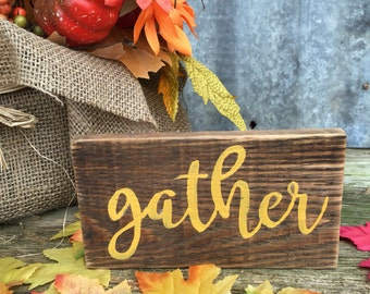 Gather Reclaimed Wood Handpainted Sign