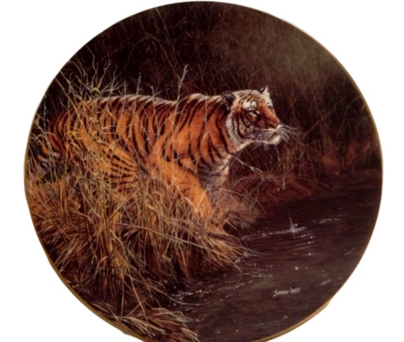 """WS George Rare Encounters Endangered Species Plate John Seerey Lester Bengal Tiger, """"Something Stirred"""" Limited Edition Plate"""