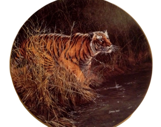"Jungle Lover Plate, Bengal Tiger, Encounters Endangered Species Plate, John Seerey Lester, ""Something Stirred"", Wild Animal Gift"