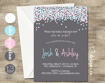 GENDER REVEAL Invitation, Confetti Gender Reveal Party Invitation, Gender Reveal Invite, gender reveal, baby reveal