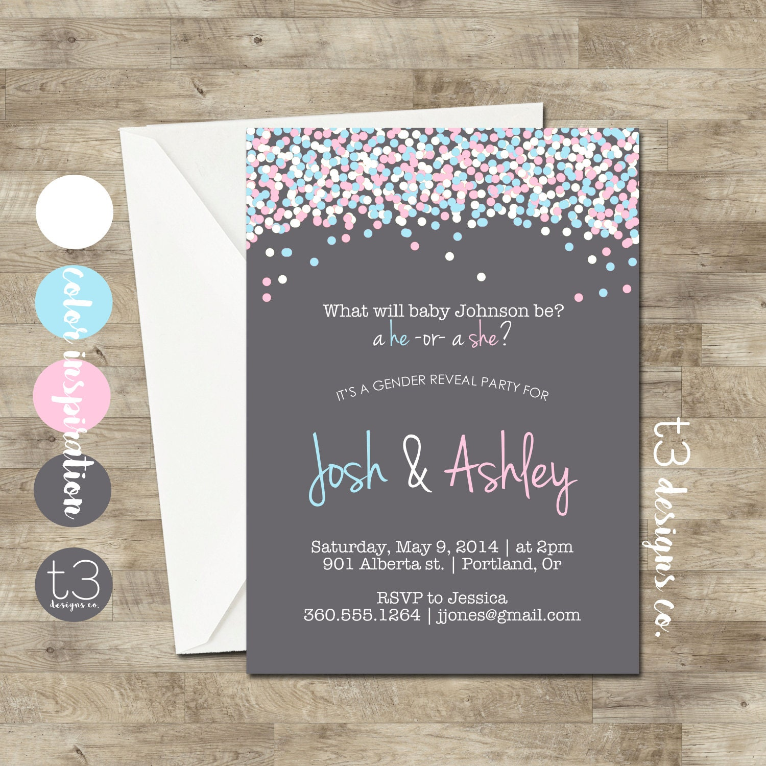 GENDER REVEAL Invitation Confetti Gender Reveal Party – Baby Gender Reveal Party Invitations