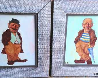 Vintage Tramp Art HOBO mid century oil paintings in original frames signed '47 1947  ?