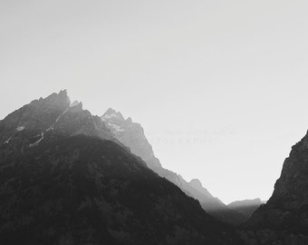 Black and White Mountain Photography, Travel Photography, Teton Mountains, Rocky Mountains Print, Fall Decor,  Fall Decorating, Living Room