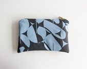SAMPLE SALE Zipper Pouch, a Versatile Screen Printed Wallet or Cosmetic Bag, Jeans Blue Coin Purse